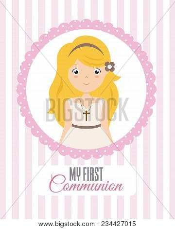 My First Communion Girl. Card Girl Dressed In Communion