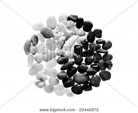 Yin Yang Symbol Made From Beach Pebble