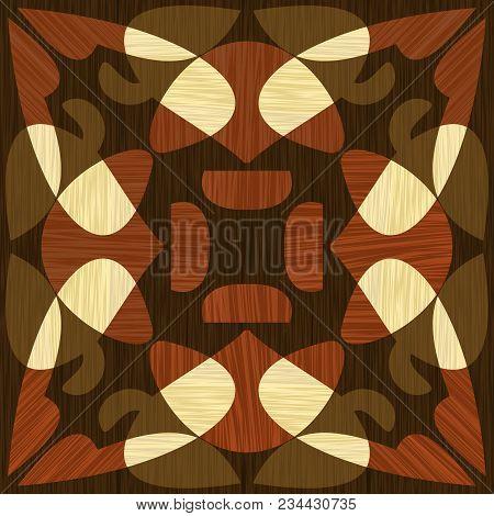 Wooden Inlay, Light And Dark Wood Patterns. Wooden Art Decoration Template. Veneer Textured Geometri