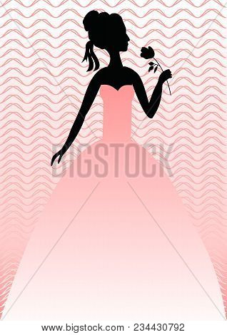 Lady With Rose In Pink Gown On Pink Background With Wavy Patterns. Silhouette Of Head, Shoulders And