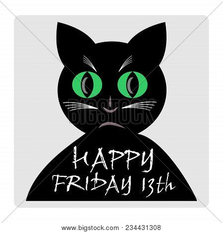 Friday 13th, Red Banner With Black Cat Silhouette Cartoon. Vector Eps 10