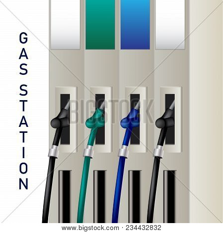 Fuel Dispenser And Fuel Nozzles At A Filling Station To Pump Petrol, Gas, Diesel. Petrol Pumps. Vect
