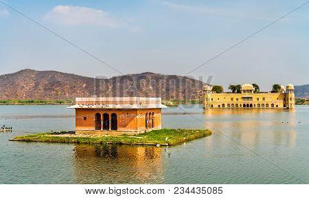Jal Mahal Or Water Palace On Man Sagar Lake In Jaipur - Rajasthan State Of India