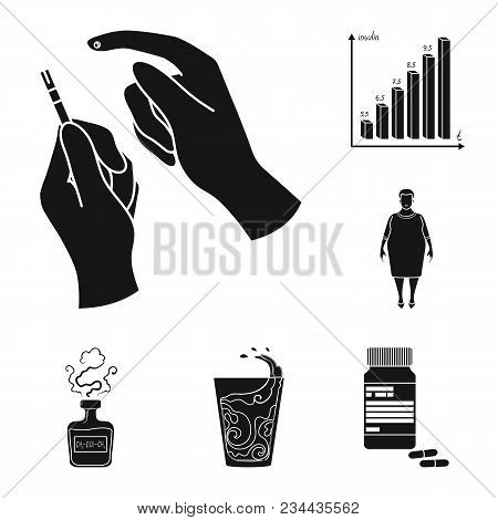 Diabetes Black Icons In Set Collection For Design. Treatment Of Diabetes Vector Symbol Stock  Illust