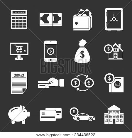 Credit Icons Set Vector White Isolated On Grey Background