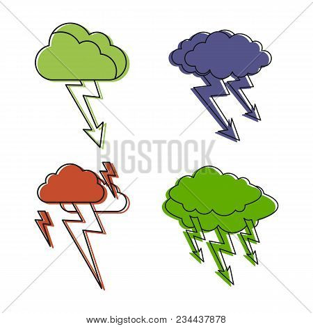 Storm Cloud Icon Set. Color Outline Set Of Storm Cloud Vector Icons For Web Design Isolated On White