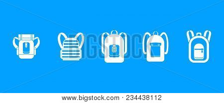 Backpack Icon Set. Simple Set Of Backpack Vector Icons For Web Design Isolated On Blue Background