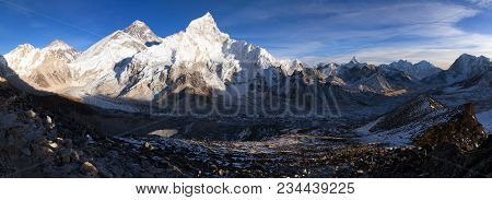 Evening Sunset Panoramic View Of Mount Everest With Beautiful Blue Sky From Kala Patthar, Khumbu Val
