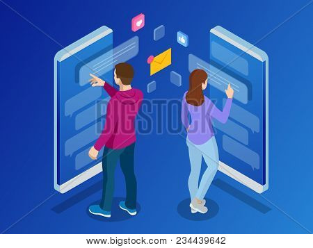 Isometric Woman And Man Typing On Mobile Smartphone. Live Chat. Sms Messages And Speech Bubbles. Sho
