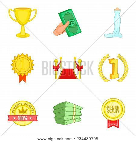 Improve Luck Icons Set. Cartoon Set Of 9 Improve Luck Vector Icons For Web Isolated On White Backgro