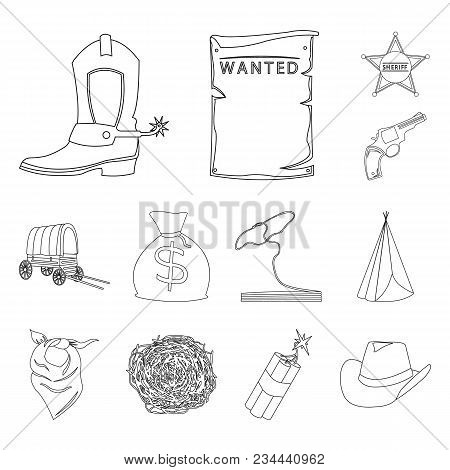 Attributes Of The Wild West Outline Icons In Set Collection For Design.texas And America Vector Symb