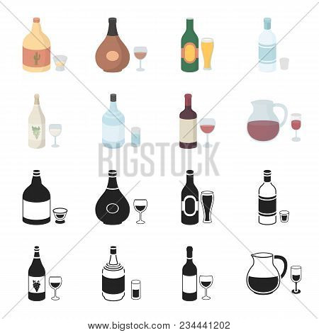 White Wine, Red Wine, Gin, Sangria.alcohol Set Collection Icons In Black, Cartoon Style Vector Symbo