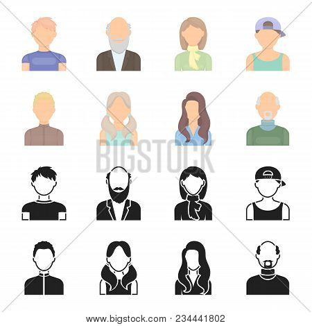 Boy Blond, Bald Man, Girl With Tails, Woman.avatar Set Collection Icons In Black, Cartoon Style Vect