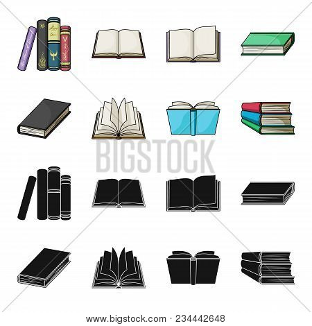 Various Kinds Of Books. Books Set Collection Icons In Black, Cartoon Style Vector Symbol Stock Illus