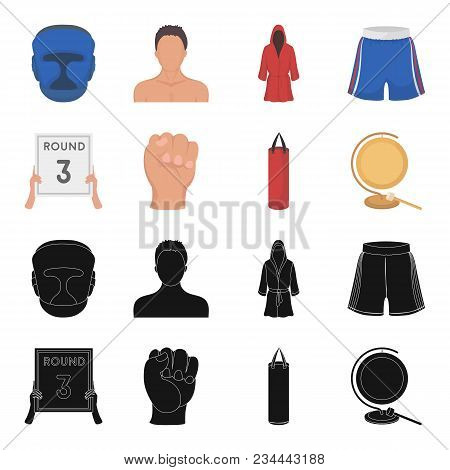 Boxing, Sport, Round, Hand. Boxing Set Collection Icons In Black, Cartoon Style Vector Symbol Stock