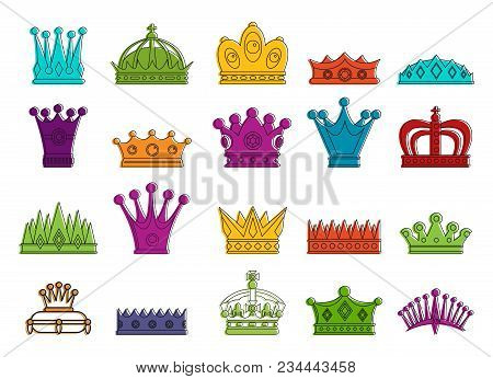 Crown Icon Set. Color Outline Set Of Crown Vector Icons For Web Design Isolated On White Background