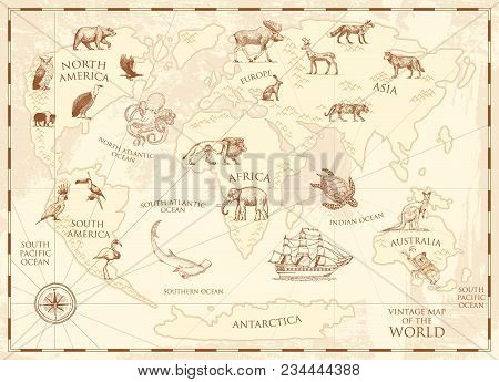 Vintage world map with wild animals and mountains. Sea creatures in the ocean. Old retro parchment. wildlife on earth concept. background or poster for kids. engraved hand drawn, mainland and island poster