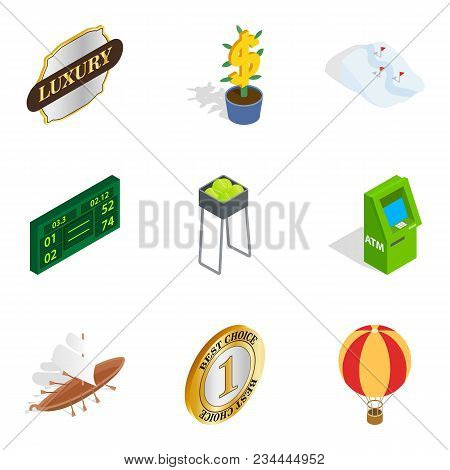 Earn Icons Set. Isometric Set Of 9 Earn Vector Icons For Web Isolated On White Background