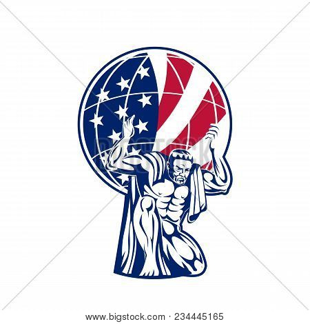 Icon Retro Style Illustration Of Atlas, A Titan Carrying A Globe With American United States Of Amer