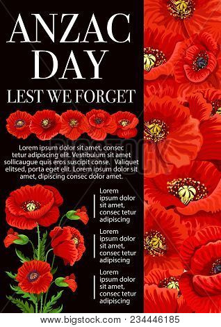 Anzac Day Lest We Forget Banner For 25 April Remembrance Day Of World War Soldier And Veterans. Red