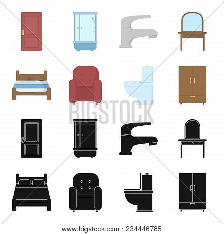 A Bed, An Armchair, A Toilet, A Wardrobe.furniturefurniture Set Collection Icons In Black, Cartoon S