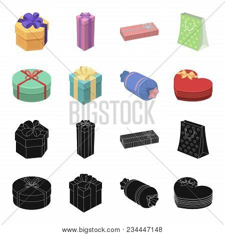 Gift Box With Bow, Gift Bag.gifts And Certificates Set Collection Icons In Black, Cartoon Style Vect