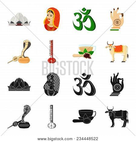 Country India Black, Cartoon Icons In Set Collection For Design.india And Landmark Vector Symbol Sto