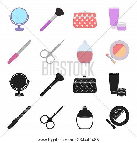 Nail File, Scissors For Nails, Perfume, Powder With A Brush.makeup Set Collection Icons In Black, Ca