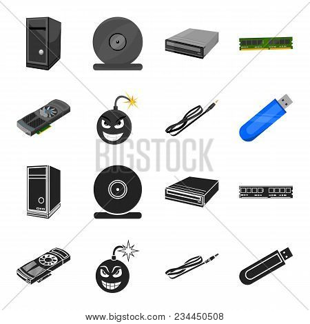 Video Card, Virus, Flash Drive, Cable. Personal Computer Set Collection Icons In Black, Cartoon Styl