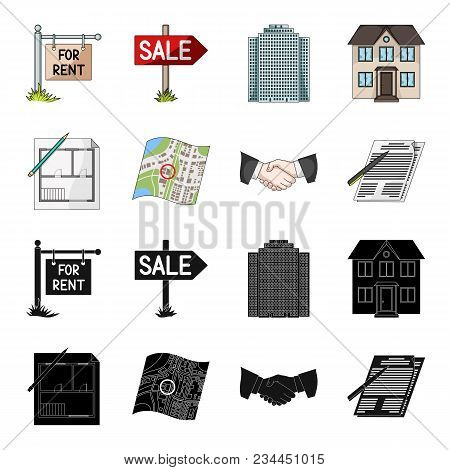 House Plan, Documents For Signing, Handshake, Terrain Plan. Realtor Set Collection Icons In Black, C