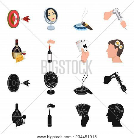 Bottle, A Glass Of Wine And Cheese, Clogging With A Corkscrew And Other Icon In Black, Cartoon Style