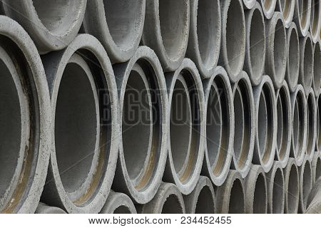 Stacked Pipe At Concrete Factory, Drainage Pipes, Concrete