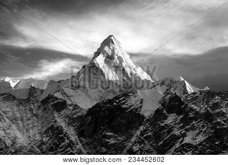 Mount Ama Dablam Within Clouds, Black And White View, Way To Everest Base Camp, Khumbu Valley, Sagar