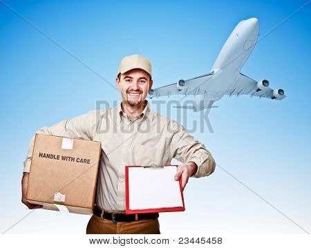 caucasian delivery man and airplane