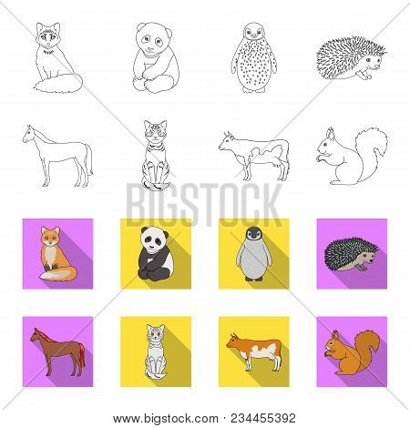 Horse, Cow, Cat, Squirrel And Other Kinds Of Animals.animals Set Collection Icons In Outline, Flet S
