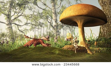 Red dragon creeping up on a pretty blonde fairy sitting under a toadstool in a fairytale forest, 3d digitally rendered illustration poster