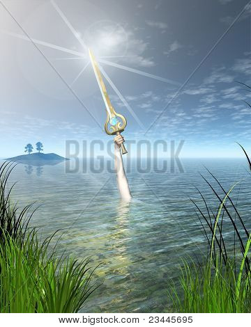 The Lady of the Lake Ninianne or Nimue from Arthurian legend holding the enchanted sword Excalibur above the water, 3d digitally rendered illustration poster