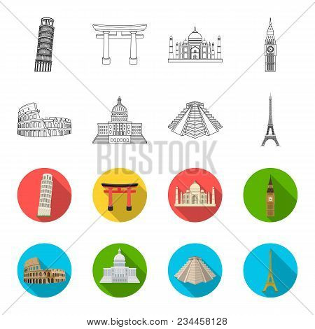Sights Of Different Countries Outline, Flet Icons In Set Collection For Design. Famous Building Vect