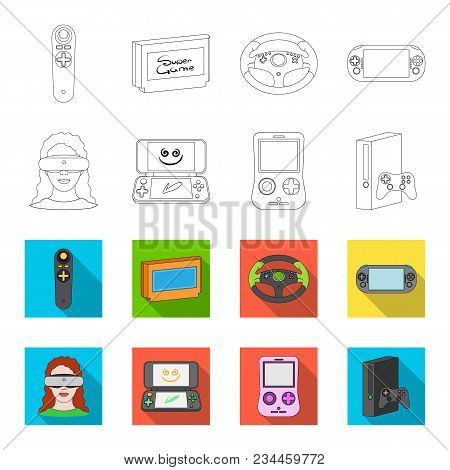 Game Console And Virtual Reality Outline, Flet Icons In Set Collection For Design.game Gadgets Vecto
