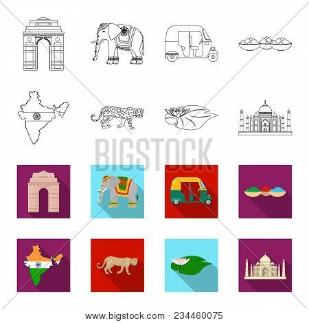Country India Outline, Flet Icons In Set Collection For Design.india And Landmark Vector Symbol Stoc