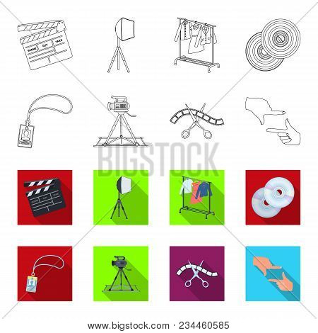 Badge, Operator Gesture And Other Accessories For The Movie. Making Movie Set Collection Icons In Ou