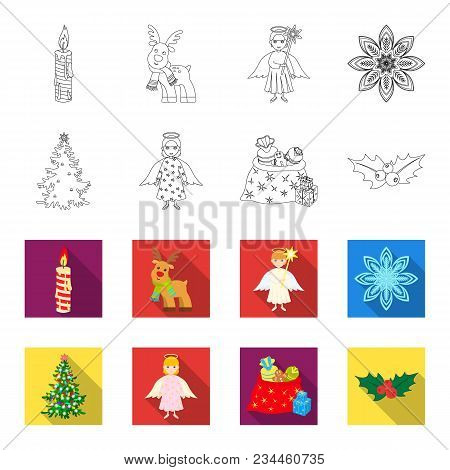 Christmas Tree, Angel, Gifts And Holly Outline, Flet Icons In Set Collection For Design. Christmas V