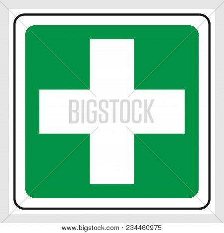 First Aid Cross Sign. Green First Aid Cross Sign.
