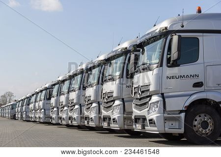 Burg / Germany - June 11, 2017: German Mercedes Benz Actros Trucks From Haulage Firm Neumann Stands