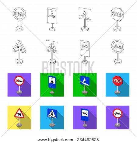Different Types Of Road Signs Outline, Flet Icons In Set Collection For Design. Warning And Prohibit