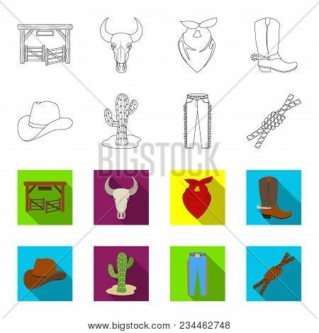 Hat, Cactus, Jeans, Knot On The Lasso. Rodeo Set Collection Icons In Outline, Flet Style Vector Symb