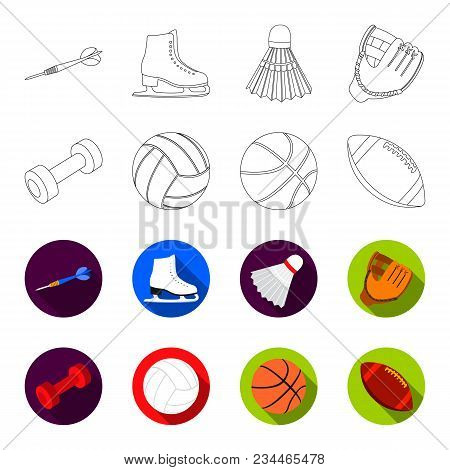 Blue Dumbbell, White Soccer Ball, Basketball, Rugby Ball. Sport Set Collection Icons In Outline, Fle