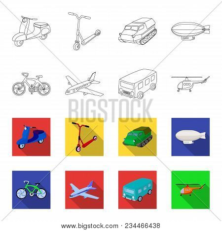 Bicycle, Airplane, Bus, Helicopter Types Of Transport. Transport Set Collection Icons In Outline, Fl