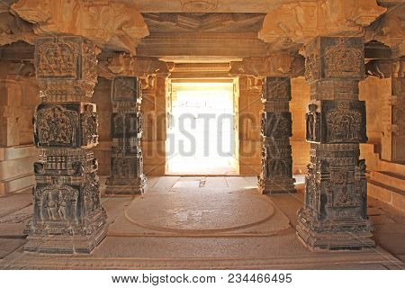 Decorative Pillars From Black Basalt In Mandappa Or Hall. Hazara Rama Temple Hampi, Karnataka. Stone