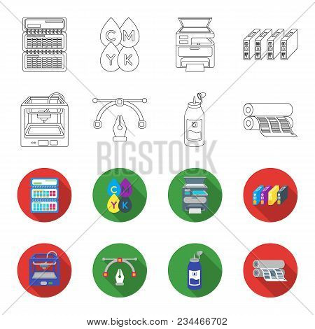 3d Printer, Newspaper Printer, Ink, Pen. Typography Set Collection Icons In Outline, Flet Style Vect